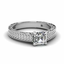 Asscher Cut 18k Gold Diamond 1.0 Carat Engagement Ring GIA Certified