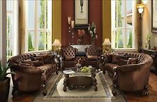 Acme Furniture Brown Versailles Living Room Set Classic 4pcs Traditional