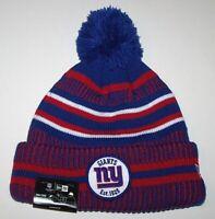 Nwt New York Giants ny Logo NFL Football Beanie Cap Hat Rolled Cuff Stripe Adult