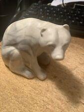 "Pearlite Marblecraft Polar Bear Canada Handcrafted 4"" White Gray Animal Art"