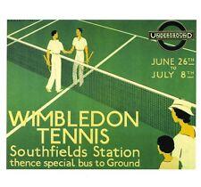 Wimbledon tennis art deco railway poster 1930s fête des pères anniversaire carte