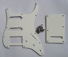 ST Strat HSS Pickguard,Back Plate Trem Cover and Screws Ivory 3 Ply