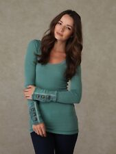 Free People Motor Button Cuff Waffle Knit Thermal Top Cypress Green Large EUC