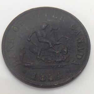 1854 Bank of Upper Canada One Half 1/2 Penny Token Copper Coin F499