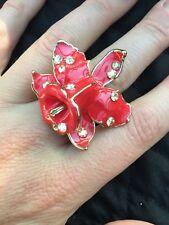 Versace für h&m Rot Emaille Blume Ring Größe M