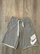 Nike Men's Sportswear Logo Loose Fit Terry Frayed Shorts Gray Size Small