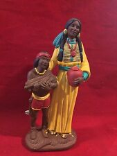 """Vintage Ceramic Native American Indian Woman with Boy Figurine 11 1/2"""" M G 90"""
