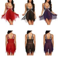 Women Sexy Lingerie Lace Set Babydoll Sleepwear Nightwear Dress Thong G String