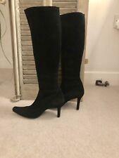 Ladies Boots Knee High Black Suede Stretch - Designer Stuart Weitzman - UK 7
