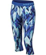 New Nike Youth Girls Pro Cool Dri-fit Capri Tights Small Blue White