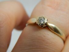 9 carat Yellow Gold Diamond Solitaire Ring Size P engagement 8 Points