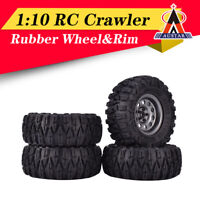 4PCS 2.2 Inch Rubber Tyres With Metal Rim for 1:10 Axial SCX10 TRX-4 RC Crawler