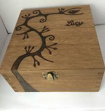 Personalised Wood Keepsake Memory Box 16cm Swirly Tree Rustic Love Wedding Gift