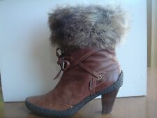 VAN DAL TLC ~ Fur Edged BROWN Leather ANKLE BOOTS ~ Size 6