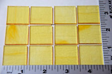 "1130.50 CLEAR YELLOW, ORANGE 12 PIECES 1"" x 1"" THIN BULLSEYE GLASS 90 COE"