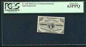 FR. 1226 3 THREE CENTS THIRD ISSUE FRACTIONAL CURRENCY NOTE PCGS UNC-63PPQ