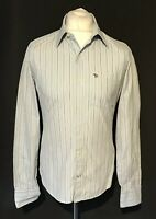 Abercrombie & Fitch Men's Shirt Blue White Striped Long Sleeve Small Slim Muscle