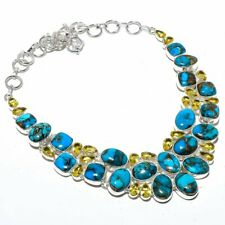 """Copper Mohave Turquoise, Citrine Gemstone 925 Sterling Silver Necklace 18"""""""