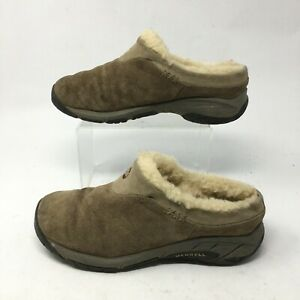 Merrell Encore Ice Stone Slip On Comfort Shoes Women 7.5 Fur Suede Brown J66600