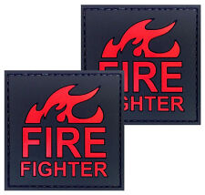 2x Fire Fighter on Fire Patch PVC Morale Patch 3D Tactical Badge Hook Loop #60