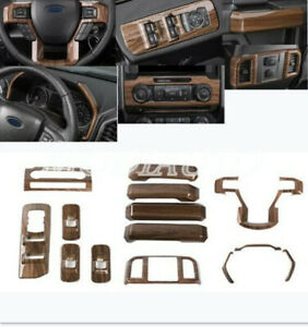 ABS Wood Grain Interior Accessories Trim Cover 14x  For Ford F150 2015-2019 2020