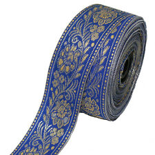 Borte 1M Bordüre lfm 40mm Band Webband  Sariborte Nähen Mittelalter  Blau 4,0