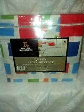 1800 SERIES BROOKSIDE QUEEN BAMBOO 6 PC SHEET SETS-SQUARES-2 BONUS PILLOWCASES