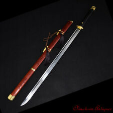 Hand Forged High Manganese Steel Blade Hand Polishing Sharp Battle Sword #1398