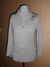 ☺ ESPRIT Damen Sweatshirtjacke Sweat Jacke meliert Grau Silberne Chatons Gr. M