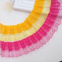 1-5 Yards Big Chiffon Lace Gathered Nottingham Lace Trim Ribbon Sewing
