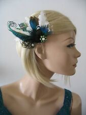 "Green Teal Duck + Peacock Feathers Fascinator Hair Clip ""Reva"" Bridal Wedding"