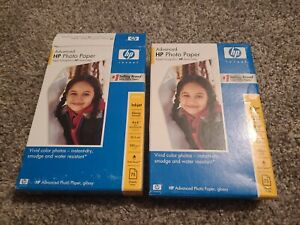 HP Inkjet Photo Paper Advanced Glossy 4x6 + Perforated Tab 75 Sheets LOT OF 2