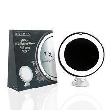 Lighted Travel Vanity 7x Magnification LED Makeup Adjustable Mirror