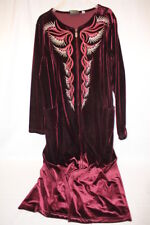 """BOB MACKIE """"Wearable Art"""" Multi-Color Embroidered Maroon Velour Robe,Size M-B104"""