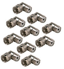 10 Pack UHF PL-259 Male to SO-239 Female Right Angle 90 Degree Adapter Connector