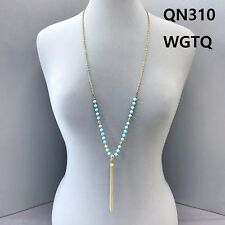 Precious Chain Tassel Pendant Necklace Gold Finished Turquoise Stone Beads Semi