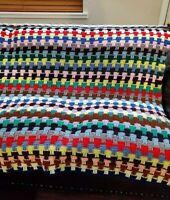 """Handmade Crochet Gorgeous Rainbow Color Throw Afghan Coach Cover Blanket  72x72"""""""
