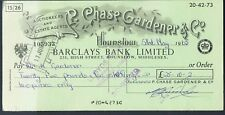 Assegno R Chase giardiniere Ltd hounslow 1965 BARCLAYS Bank Limited High Street