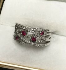 JWBR  925 Silver Diamond Wide Crossover Ring With Pink Ruby