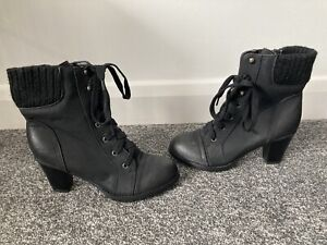 Brand New Store Twenty One Black Lace Up Military Ankle Boots Size 6 (39)