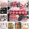 Winter Christmas Duvet Bedding Set Xmas Gift Snowy Night Quilt Soft Bed Sheets