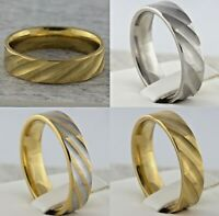 6mm Stainless Steel Mens & Womens Wedding Band Gold Silver Plated Comfort Ring