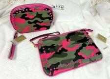 CARPISA Italian Shoulder Clutch Camouflage Purse with Coordinate Makeup Bag NEW