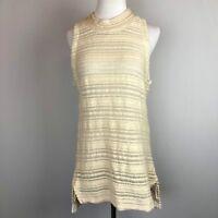 Anthro Dolan Left Coast Collection Cream Open Knit Sleeveless Sweater Top Sz L