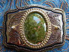 Buckle Gold/Black Metal,Western,Cowboy, Goth New Handcrafted Unakite Belt