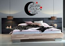 I love you to the moon and back quotes Wall stickers Art Bed Room wall stickers