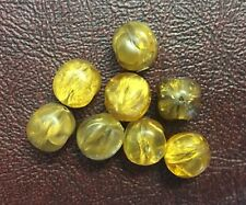 Vintage Yellow Golden Honey Crackle Textured Baroque Roundish Lucite Bead Lot