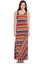 Kensie Orange Multi Stripe Knit Racerback Maxi Dress Sz XS