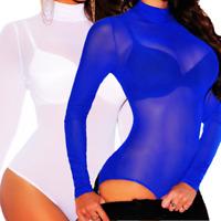 Women Bodysuit Bodycon Jumpsuit Romper Leotard Tops Blouse Playsuit Long Sleeve