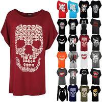Womens T Shirt Ladies Halloween Coustume Lagenlook Loose Baggy Skull Batwing Top